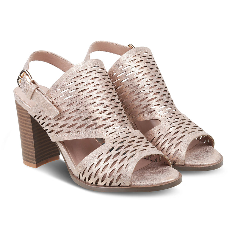 The Flor Rose Gold - Rose Gold Block Heel Sandals - Tresmode