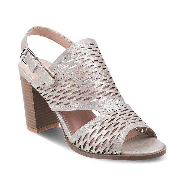 The Flor Pewter - Pewter Block Heel Sandals - Tresmode