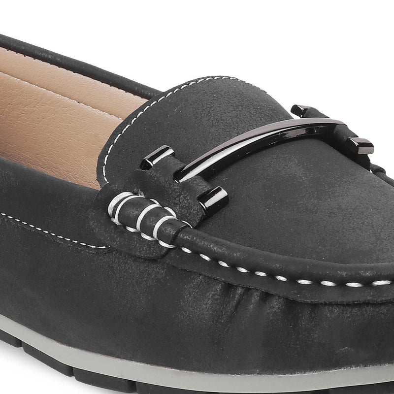 Black buckle loafers for women-The Knin Black-Tresmode