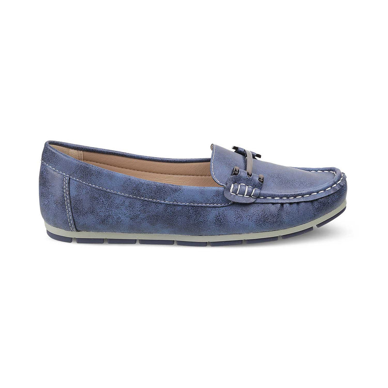 The Knin BlueBlue buckle loafers for women - Tresmode
