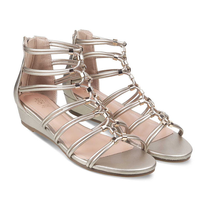 The Morant Gold - Gold Gladiator Sandals for Women - Tresmode