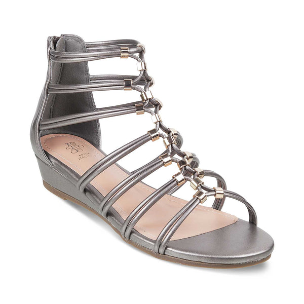 The Morant Pewter - Pewter Gladiator Sandals for Women - Tresmode