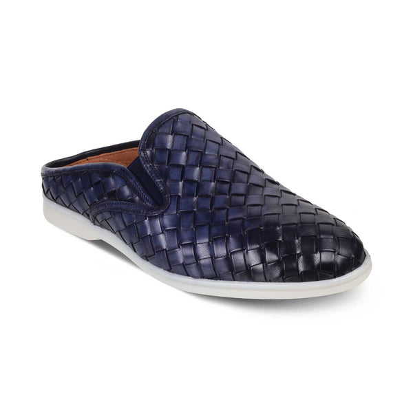 The Palermo Blue - Blue hand woven mules - Tresmode