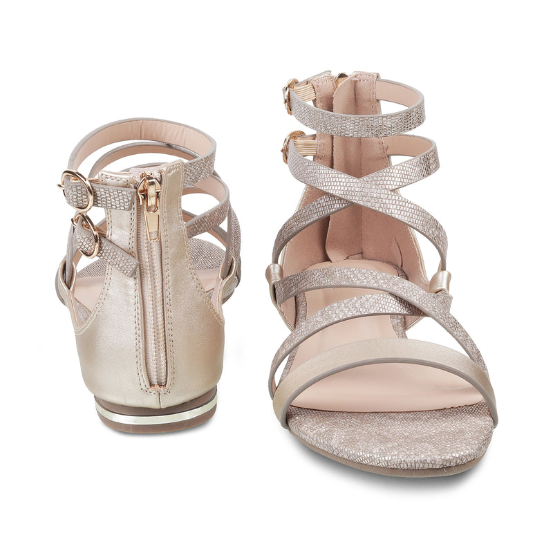 The Palmer Pewter - Pewter strappy Sandals for Women - Tresmode