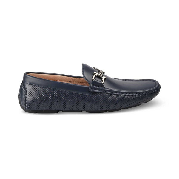 THE PERU BLUE Blue vegan leather driving loafer shoes for