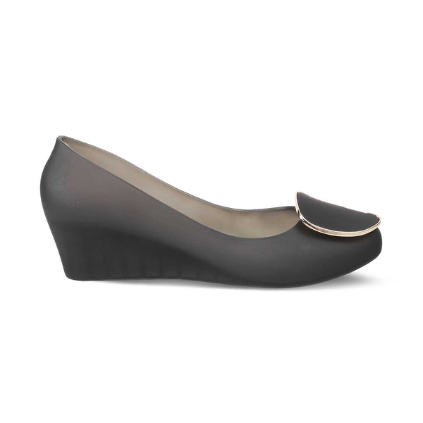 Black Wedge heel ballerinas-The Rebecka Black-Tresmode
