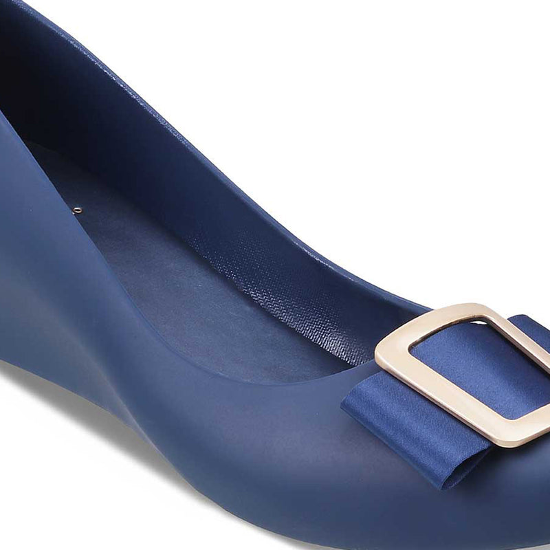 Blue Wedge heel ballerinas-The Rico Blue-Tresmode