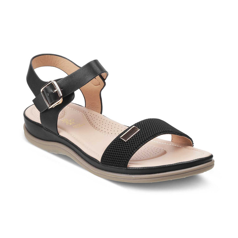The Sinj Black - Black Casual Sandals for Women - Tresmode