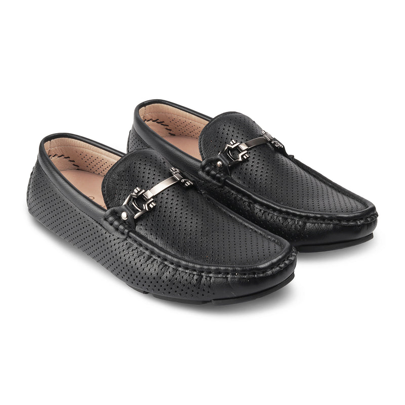 THE TORIN BLACK Black vegan leather driving loafers for men
