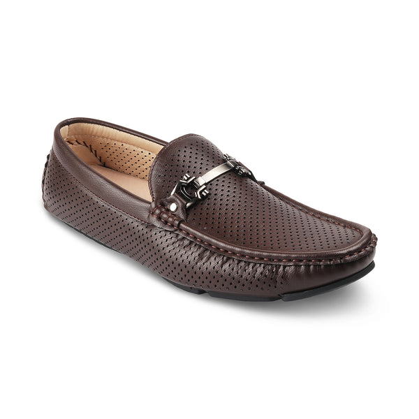 THE TORIN BROWN Brown vegan leather driving loafers for men