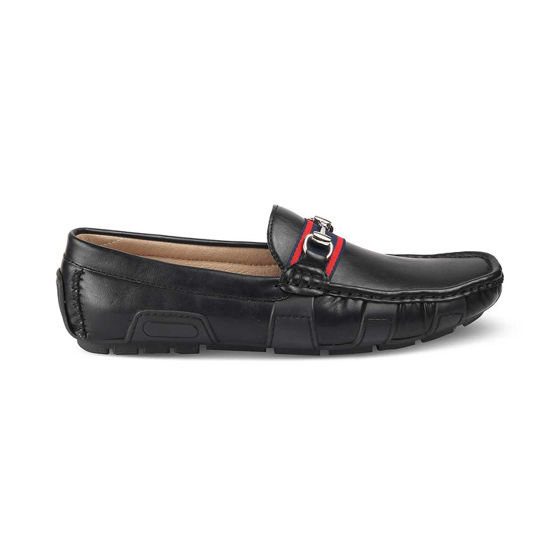 THE TRADA BLACK Black vegan leather driving loafers for men