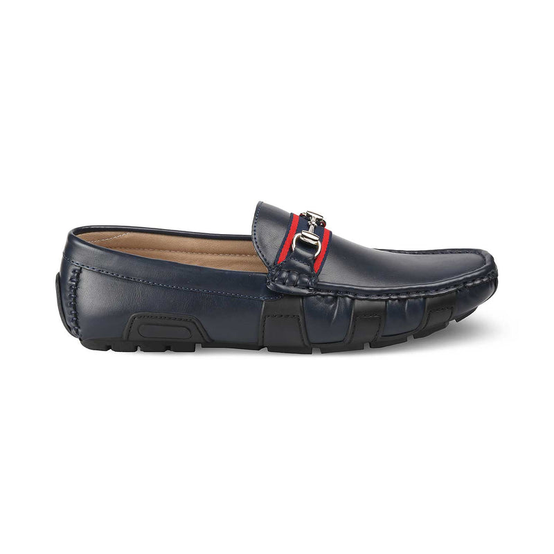 THE TRADA BLUE Blue vegan leather driving loafers for men