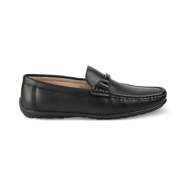 THE TRAGO BLACK Black vegan leather driving loafer shoes for