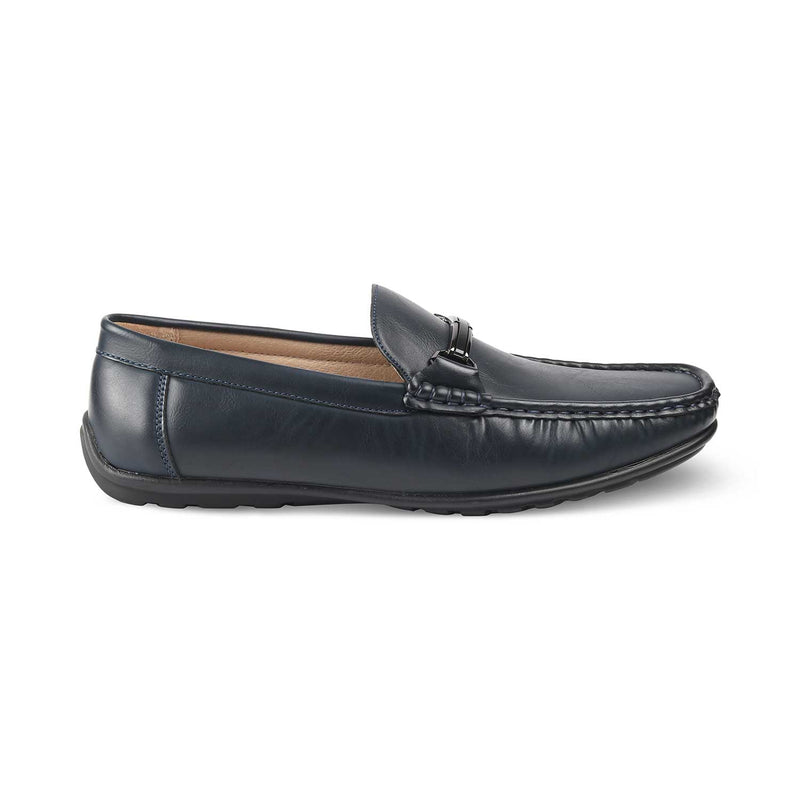 THE TRAGO BLUE Blue vegan leather driving loafer shoes for