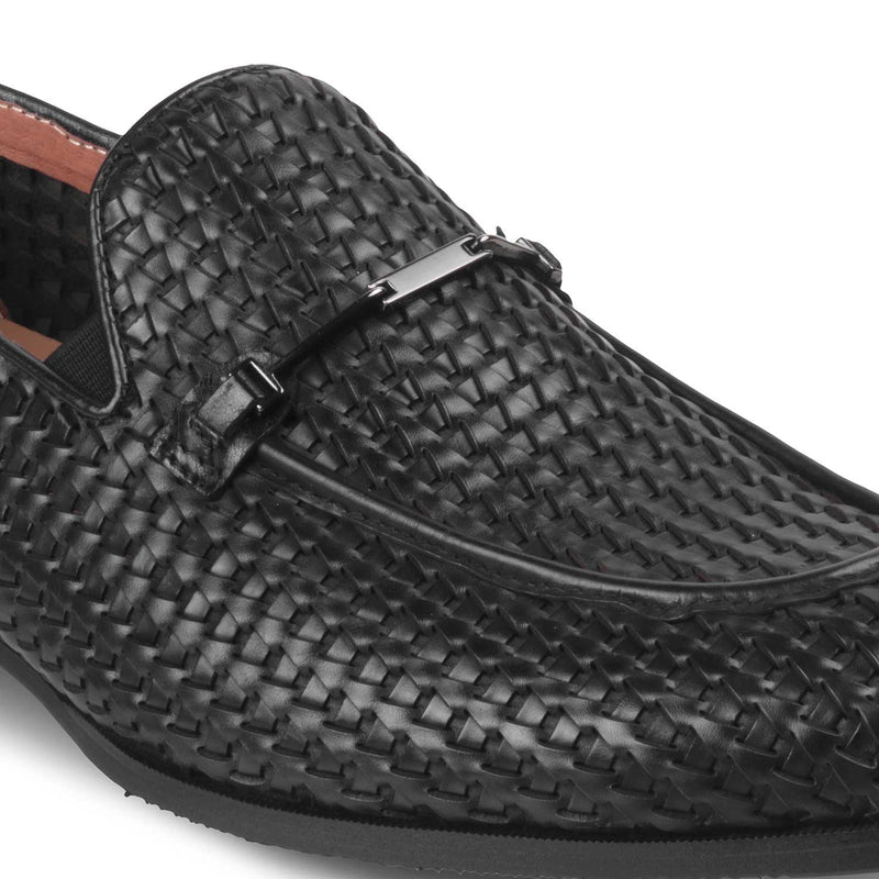 Textured loafers buckle detail-The Trevor Black-Tresmode