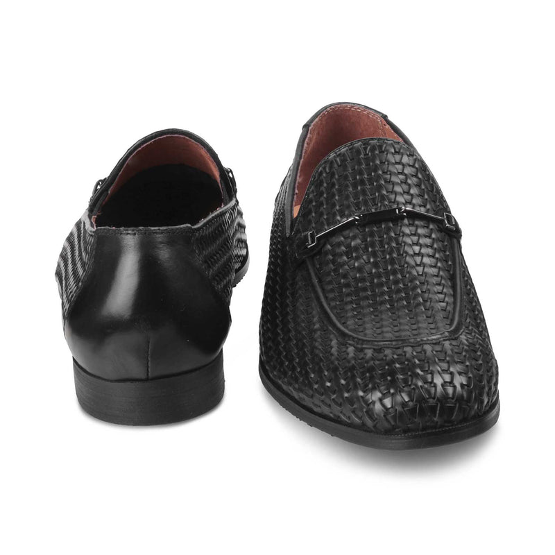 The Trevor Black - Textured loafers buckle detail - Tresmode