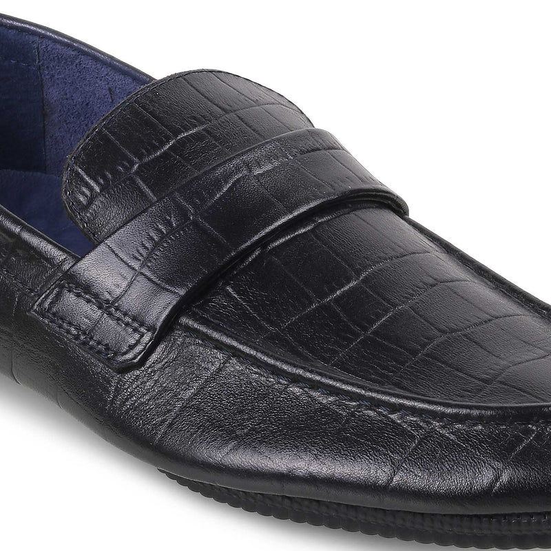 The Glen Blue Textured Loafers