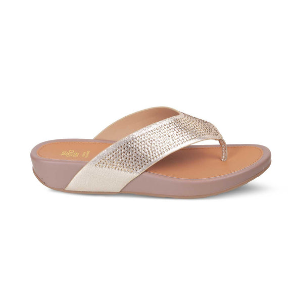 The Trento GoldGold Flats for Women - Tresmode