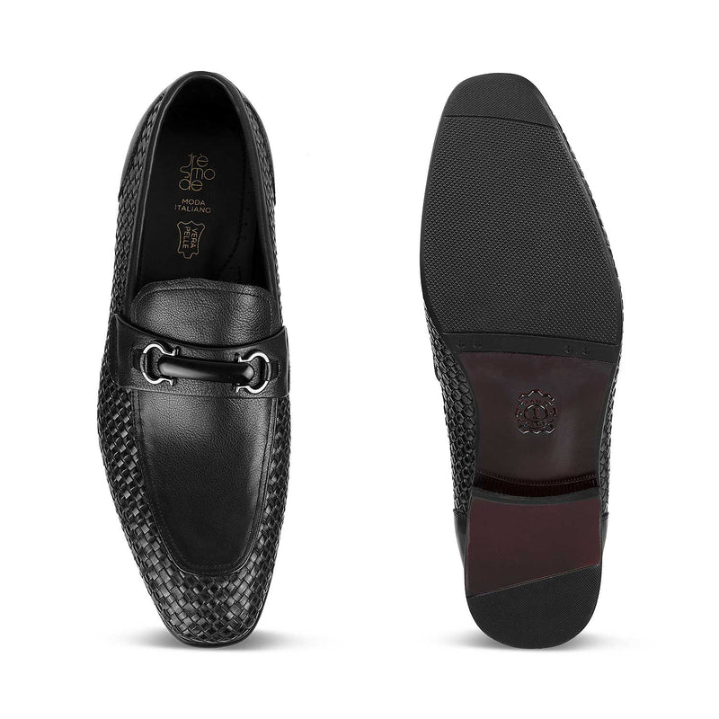 The Julio Black - Black Textured Loafers - Tresmode