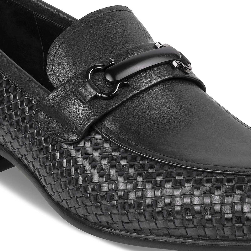 The Julio BlackBlack Textured Loafers - Tresmode