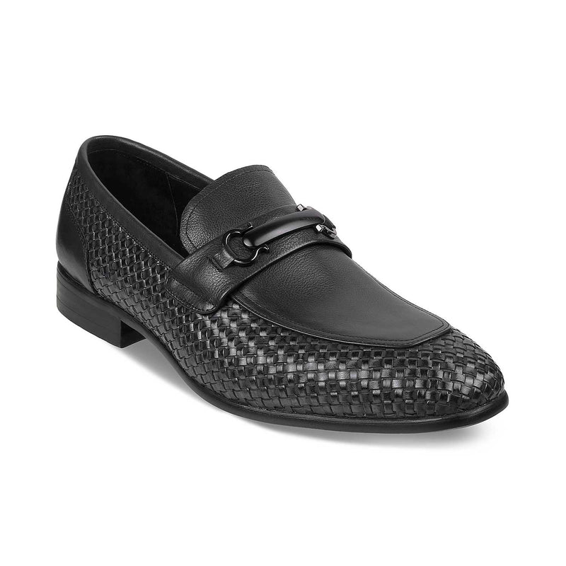 The Julio Black Textured Loafers