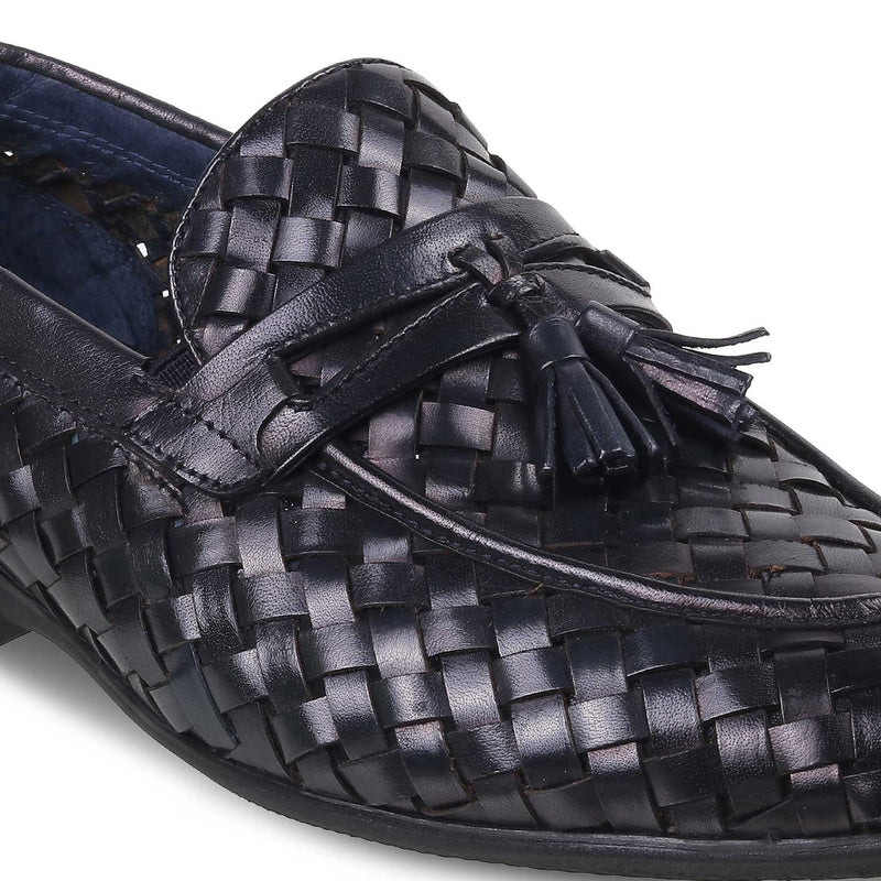 The Wes Blue - Blue Hand Woven Loafers - Tresmode