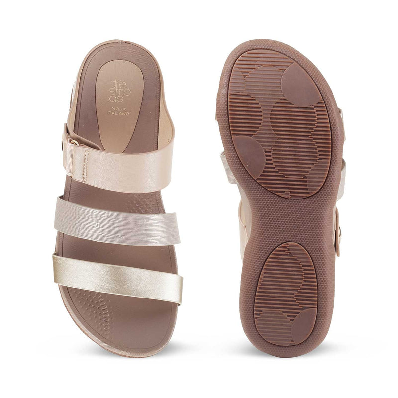 The Pula Gold casual sandal for women