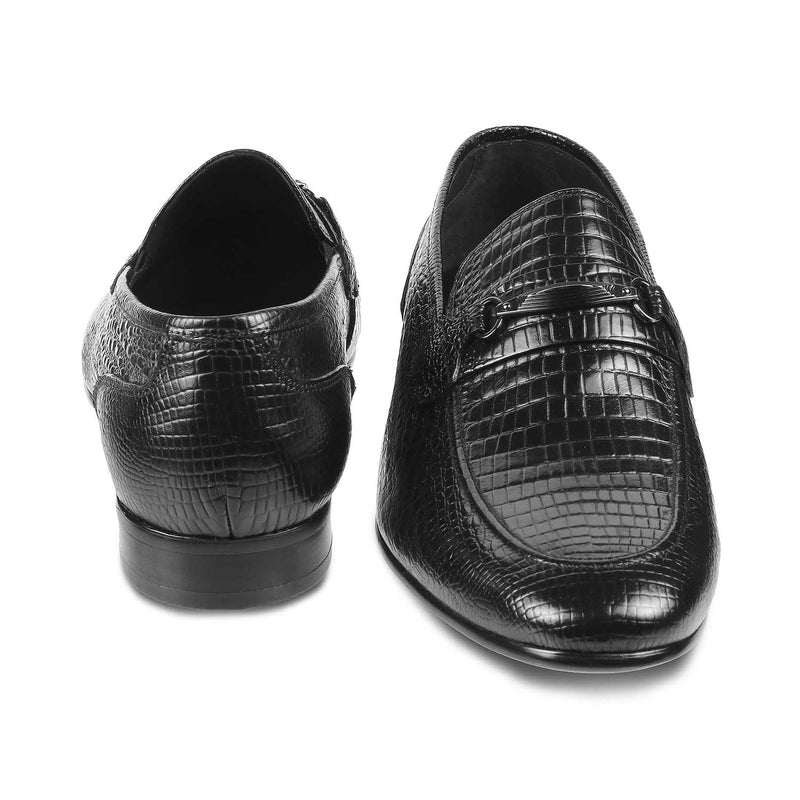 The Tiago Black - Black textured loafers for men - Tresmode