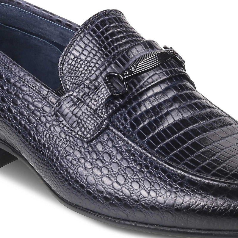 The Tiago Blue - Blue textured loafers for men - Tresmode