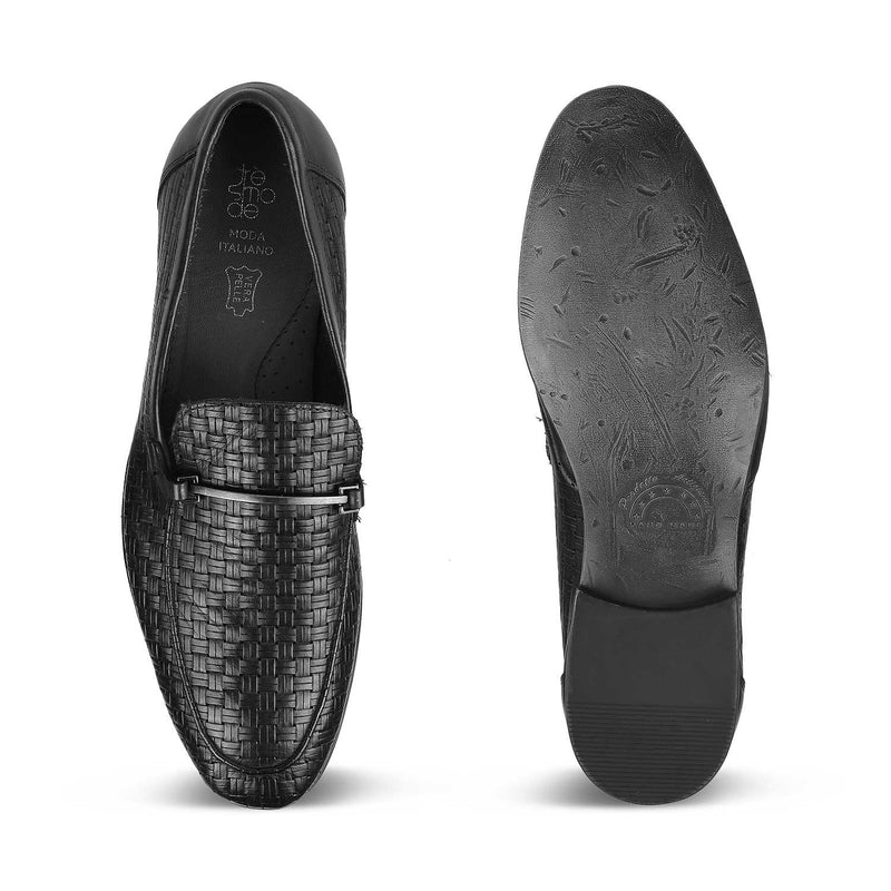 The Dante Black - Black Woven loafers for men - Tresmode