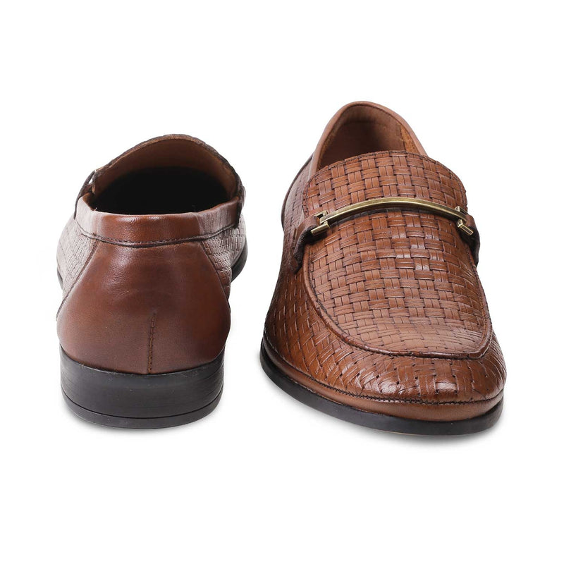 The Dante Tan Woven Loafers for men