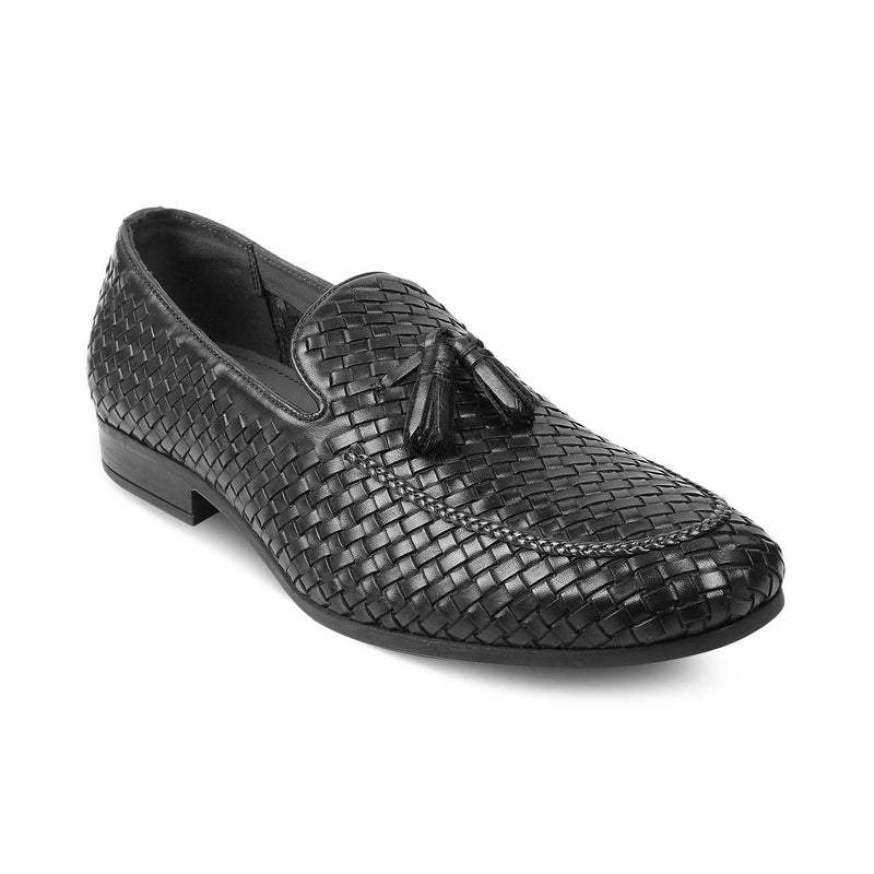 The Deangelo Black - Black Woven loafers for men - Tresmode