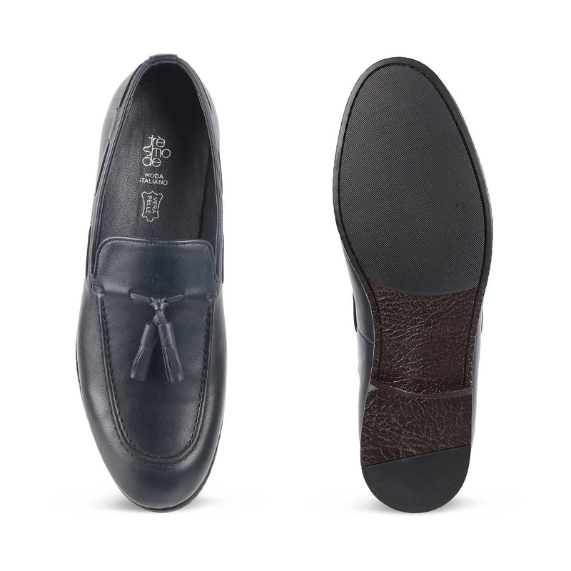 The Michigan Blue Tassel Loafers for Men