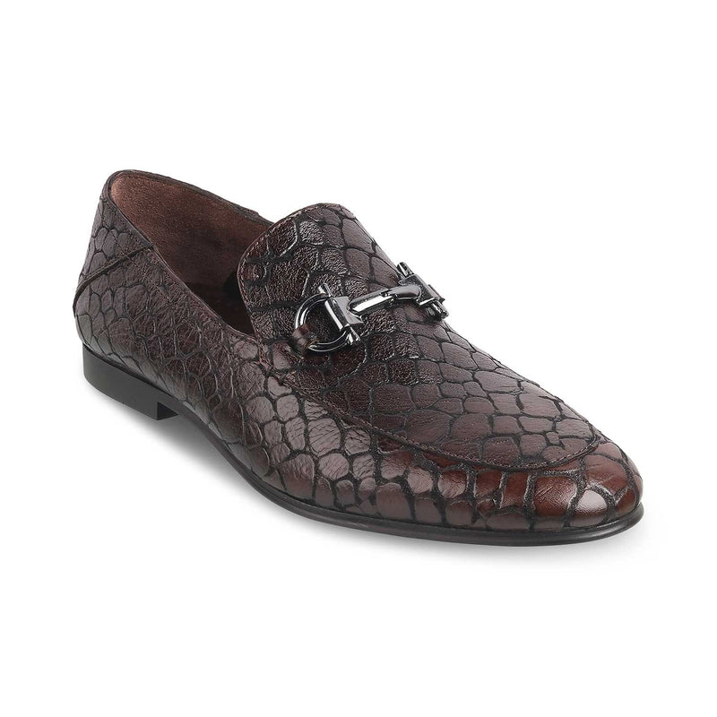 THE TURINO BROWN Brown Textured Loafers for Men