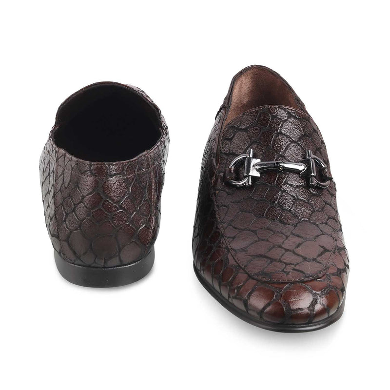 Brown Textured Loafers for Men-THE TURINO BROWN-Tresmode
