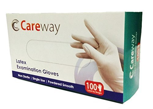 100 Piece - Careway Latex Medical Examination Disposable Hand Gloves White Medium Tresmode