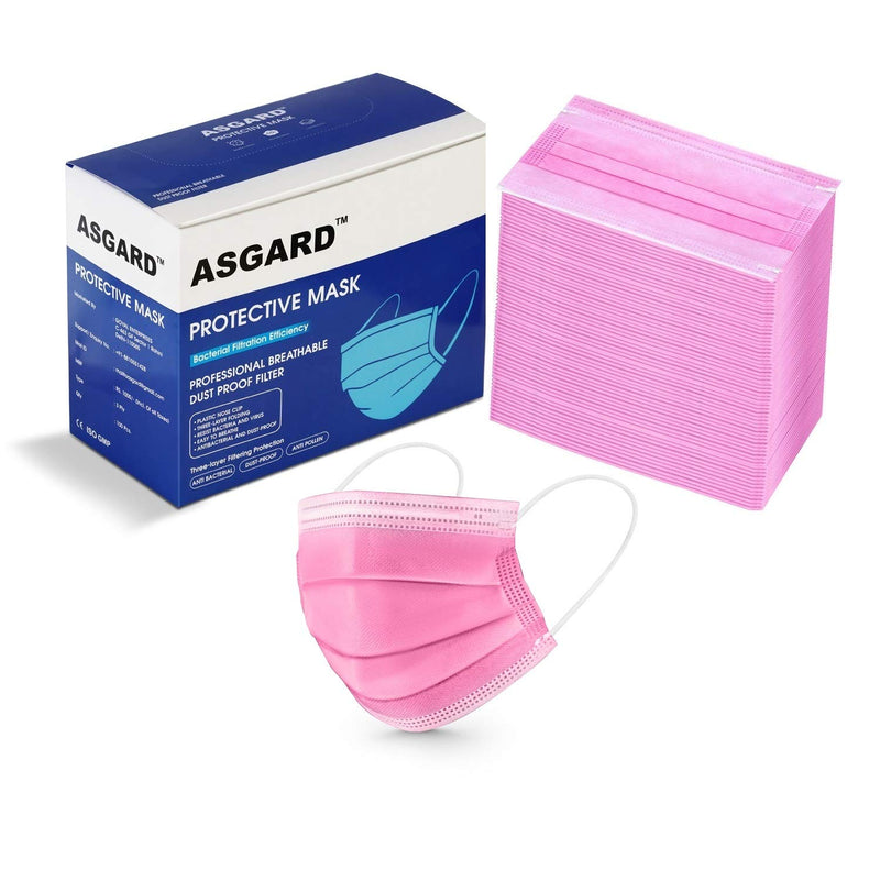 PINK - Asgard 3 Layer Non Woven Fabric Protective Face Mask (Pack of 50) Tresmode