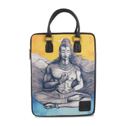 THE SHIVSHAKTI TOPHANDLE BLACK Printed laptop bag