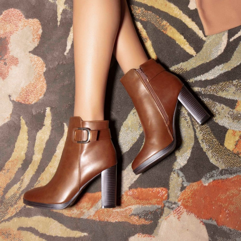 Camel Ankle-length Boots-The Lauren Camel-Tresmode