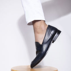 The Loreno Blue - Blue penny loafers - Tresmode