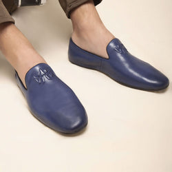 Blue Slip on loafers-The Marco Blue-Tresmode