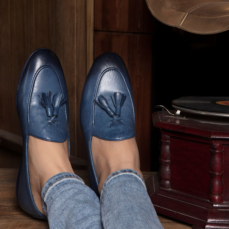 The Saburo Blue - Classic Tassel Loafers in Blue Leather - Tresmode