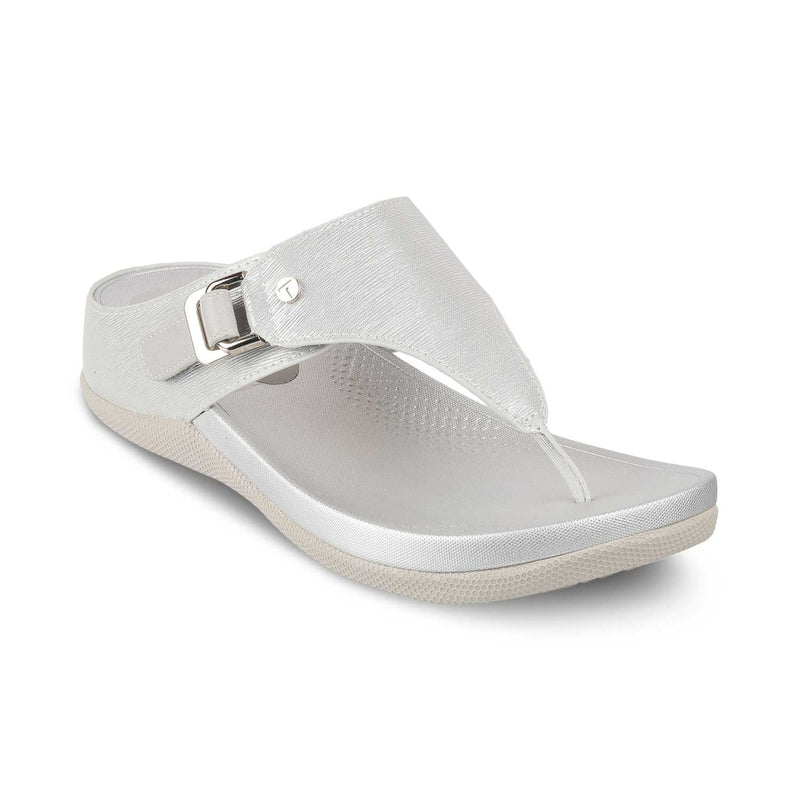 The Belem Silver Slip-on Sandals