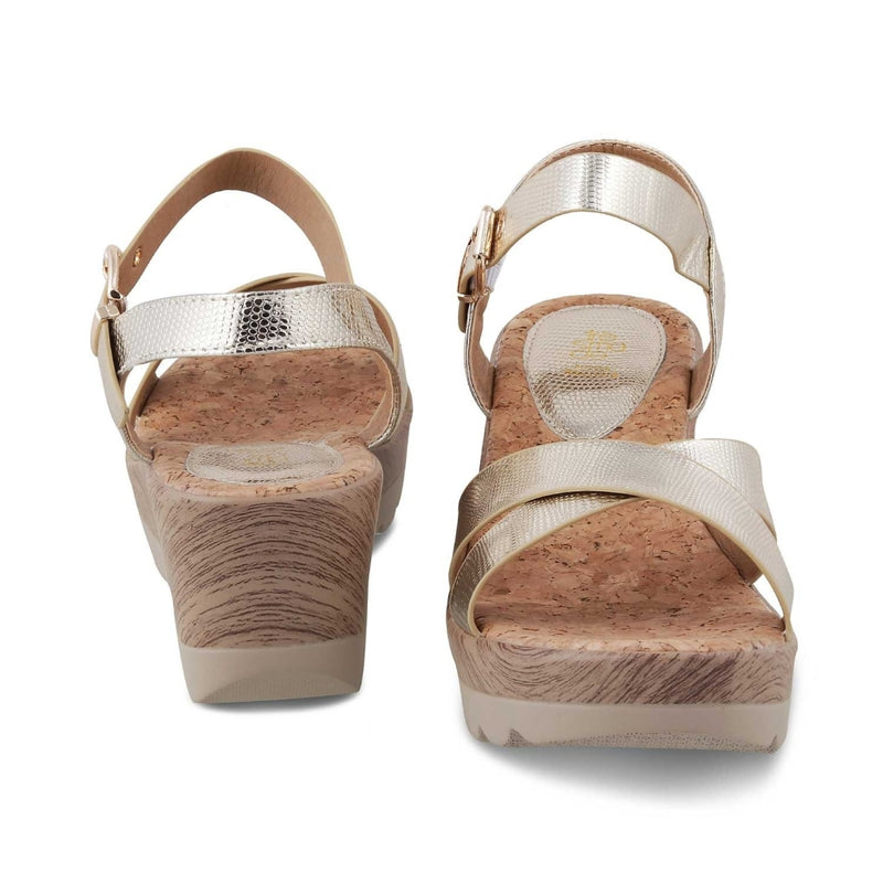 The Hamedge-1 Gold wedge heel sandals for women