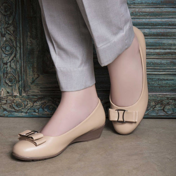 The Maide Beige wedge heel ballerinas