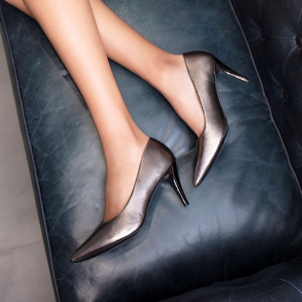The Larissa Pewter - Pewter Pumps for Women - Tresmode