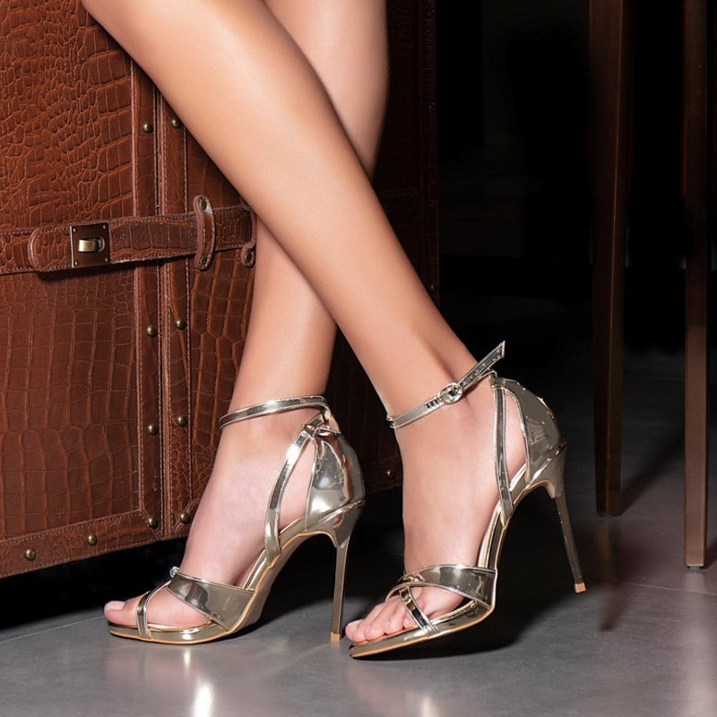 The Moira Gold 4 inch heel Stilettos