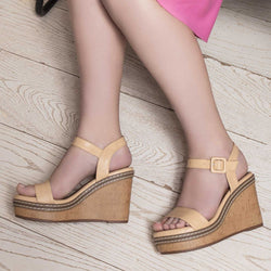 The Nikol Tan - Tan Wedge heel sandals - Tresmode