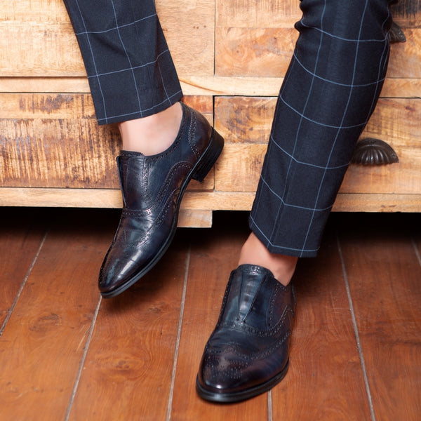 The Washington Blue - Blue Laceless Oxford Slip-ons - Tresmode