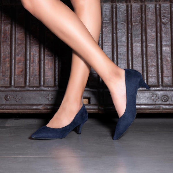 The Wilburg Blue kitten heel pumps